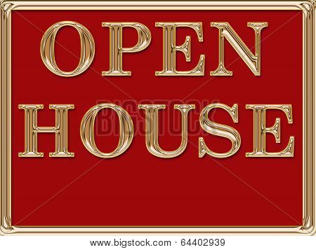 Open House Real Estate Sign Gold