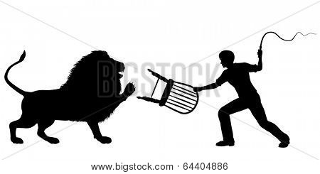 Editable vector silhouette of a lion-taming man with whip and chair poster