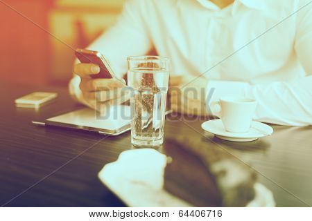 Coffee Break With Tablet And Smartphones