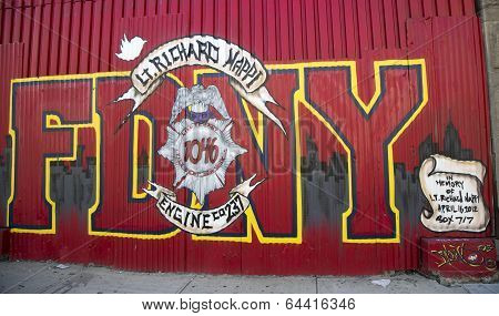 Mural in the memory of fallen FDNY firefighter Lt. Richard Nappi at East Williamsburg in Brooklyn