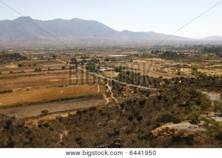 Overview Of A Landscape Near Oaxaca, Next To Famous Yagul Burrial Site, Mexico