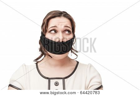 Beautiful brunette plus size woman gagged isolated poster