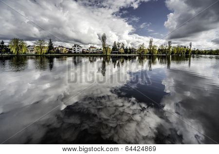 Picturesque View Of Netta River. Augustow City. Poland