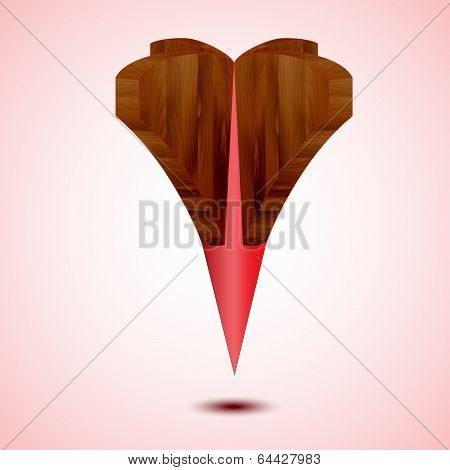 wooden red Map Pointer Icon on a red background