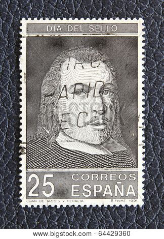 Spain - Circa 1991: A Stamp Printed In The Spain, Shows Juan De Tassis Y Peralta (1582- 1622), Circa