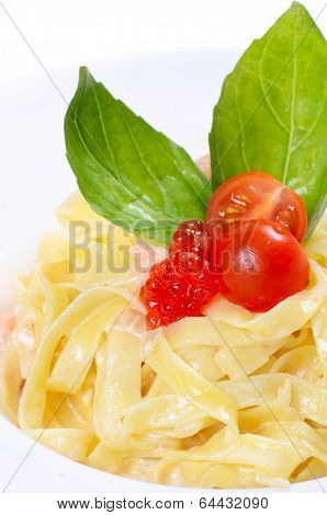 Fettuccini With Salmon And Creamy Sauce