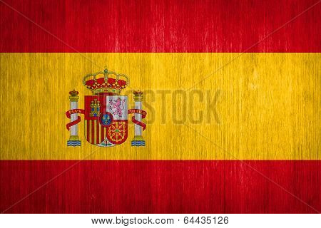 Spain Flag On Wood Background