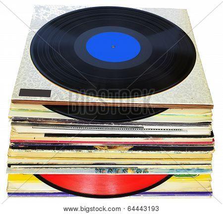 33 rpm vinyl discs stack