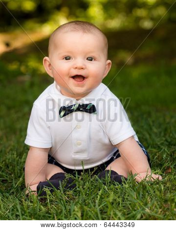 Spring Portrait Of Cute Infant Baby Boy Wearing A Bow Tie