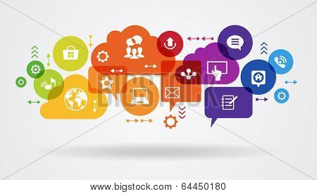 Social media concept. Communication in the global computer networks. Set of flat design concept icons for web and mobile services. File is saved in AI10 EPS version.