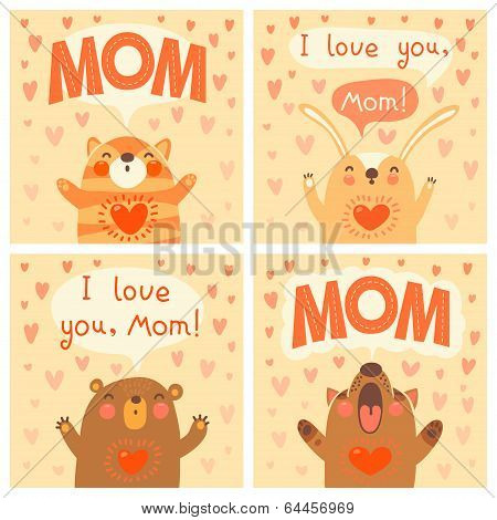 poster of Greeting card for mom with cute animals. Vector illustration.