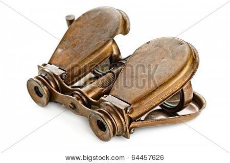 vintage binoculars isolated on white