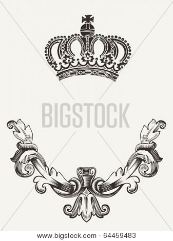 Abstract crown emblem with shield.