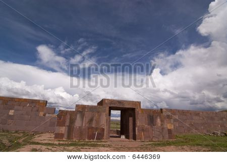 Main Entrance To Kalasasaya Temple, Tiwanaku, Bolivia. Declared Unesco World Heritage Site