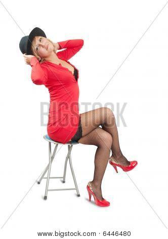 Portrait Of Luxury Women In Red Dress