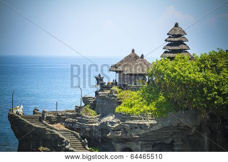 The Tanah Lot Temple, the most important indu temple of Bali Island. Indonesia. poster