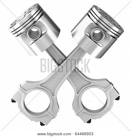 Engine Pistons. 3D Image.