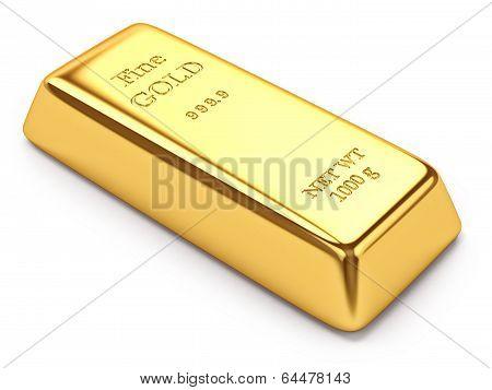 Gold ingot brick isolated on white background poster