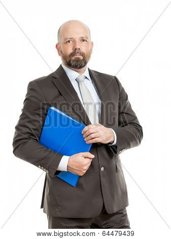 An image of a handsome business man with a blue folder poster