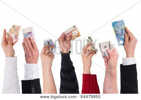 Different Currencies Concept Global Financing