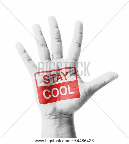 Open Hand Raised, Stay Cool Sign Painted, Multi Purpose Concept - Isolated On White Background