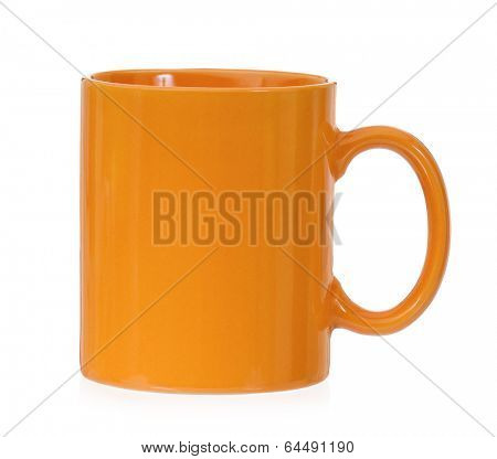 Orange mug for coffee or tea, isolated on white background