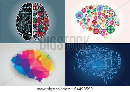 Collections of four different human brains, left and right side, creativity and logic, illustration poster