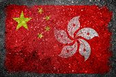 """Merged Flag of China and Hong Kong painted on grunge concrete. Concept of Hong Kong being the first Special Administrative Region of China on 1 July 1997 under the principle of """"One Country Two Systems."""" poster"""
