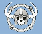 monochrome skull illustration, well organized, easy to rearrange and recolor poster