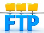 3d illustration of FTP ( File transfer Protocol ) letter over white background poster