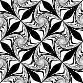 Design seamless monochrome decorative pattern. Abstract waving lines background. Speckled texture. Vector art poster