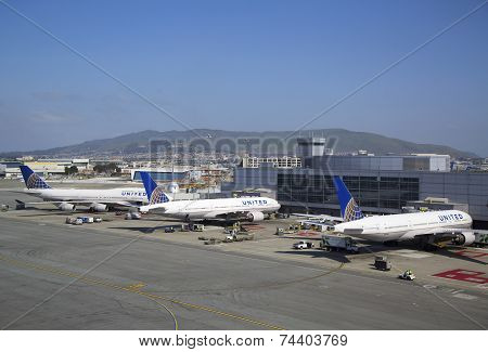 United Airlines planes at the Terminal 3 in San Francisco International Airport