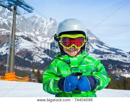 Boy has a fun on ski
