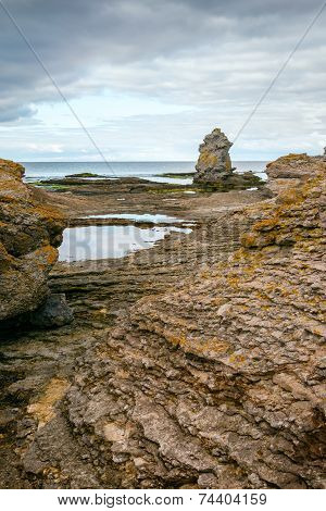 Vertical of Iconic rauk landscape on Gotland, Sweden