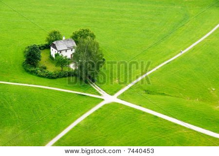 House In The Green Field Of Saltzburg (view From Hohensaltzburg Castle)