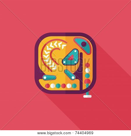 Pinball Flat Icon With Long Shadow,eps10