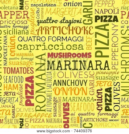 Pizza words, tags. Seamless pattern