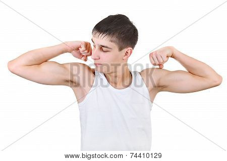 Teenager Muscle Flexing