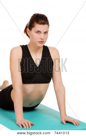 young woman doing back stretch
