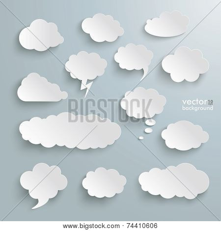 Clouds Set Silver Background