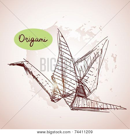 Origami Paper Cranes Sketch. Line On Beige Background.grunge Texture