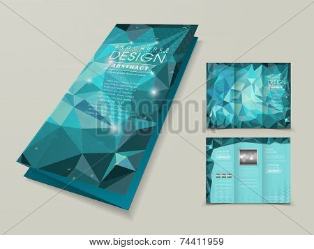 abstract polygonal background for tri-fold template in blue poster