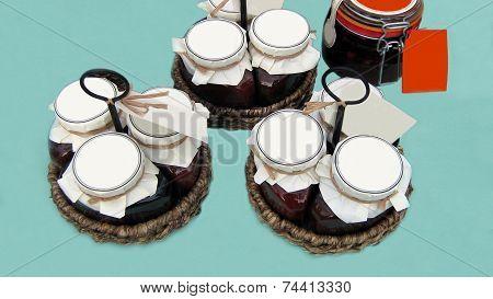 jars of jam in baskets