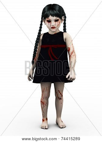 A Gothic Blood Covered Small Girl.