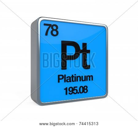 Platinum Element Periodic Table isolated on white background. 3D render poster
