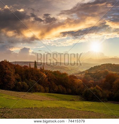 Village On Hillside Behind Forest In Mountain At Sunset