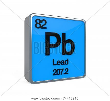 Lead Element Periodic Table isolated on white background. 3D render poster