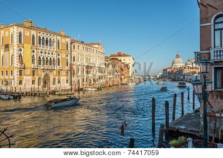 View From Bridge Ponte Dell Accademia At Canal Grande With Basilica In Venice