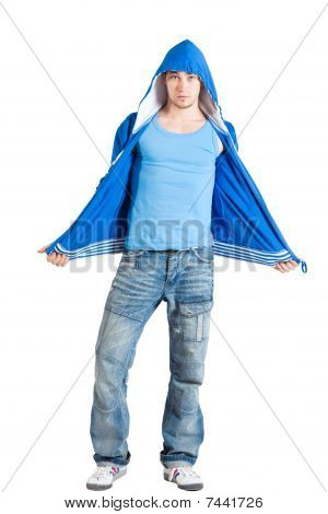 Handsome Young Man Dressed Casual. Blue. Isolated