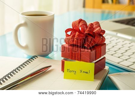 Christmas Gift Box With Greeting Message For Holiday Season